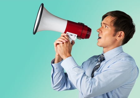 men talking: Megaphone, Talking, Men.