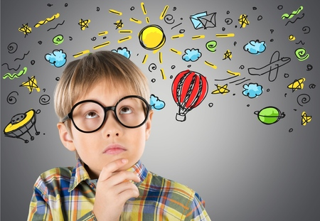 point of demand: Question, mark, child. Stock Photo