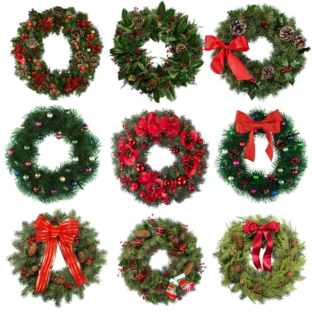christmas decorations with white background: Wreath, Christmas, Holly.