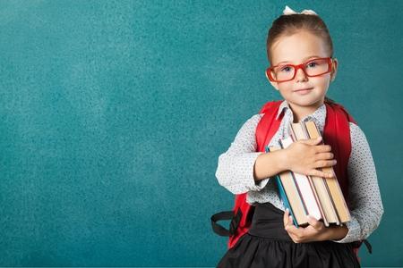 kinderen: Boek, school, kind. Stockfoto