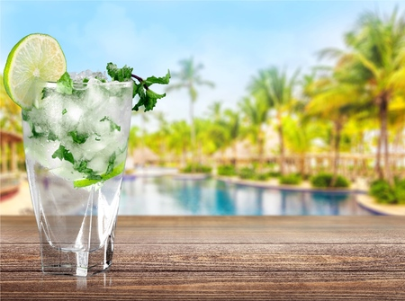 cold beverages: Mojito, Cocktail, Drink.