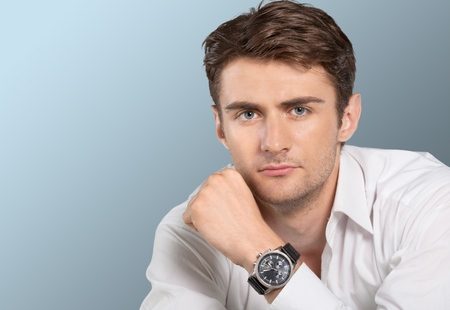 only adult: Men, Watch, Human Face. Stock Photo