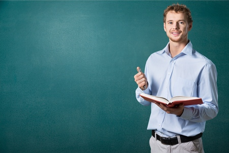 adult classroom: English, learn, teacher. Stock Photo