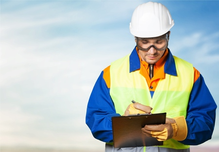 engineering clipboard: Technician, engineering, engineer. Stock Photo