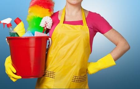 Limpieza, limpiador, criada. Foto de archivo