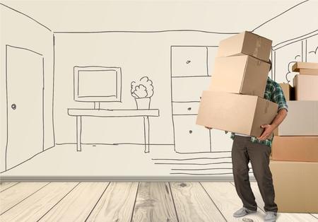 aktywność fizyczna: Box, przeprowadzki, aktywności fizycznej. Zdjęcie Seryjne