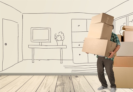 moving up: Box, Moving House, Physical Activity. Stock Photo