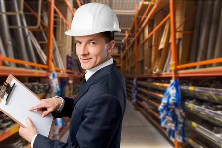 engineering clipboard: Quality Control, Engineer, Construction. Stock Photo