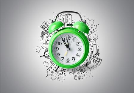 Clock, green, second.