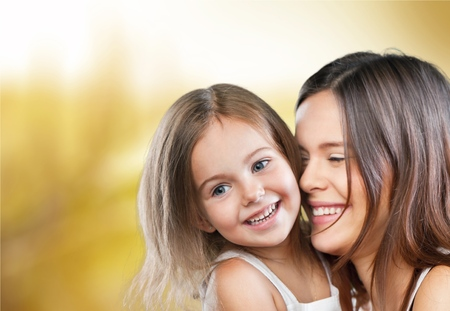 Mum, teeth, hugging. Stock Photo