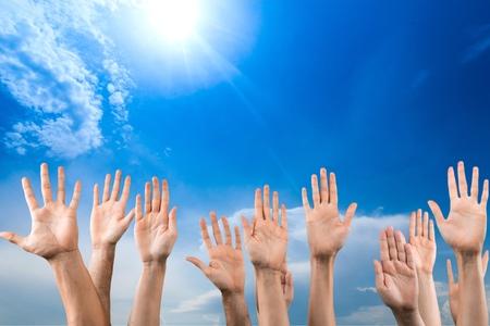 asking: Human Hand, Education, Asking. Stock Photo