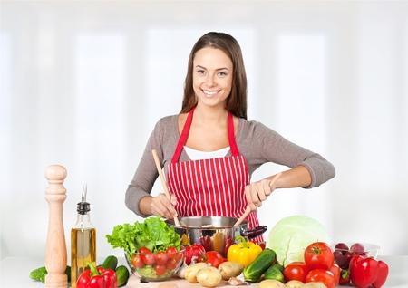 saludable: Cocina, Ni�os, Comida sana. Foto de archivo