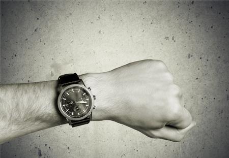 wrist cuffs: Watch, Wristwatch, Human Hand. Stock Photo