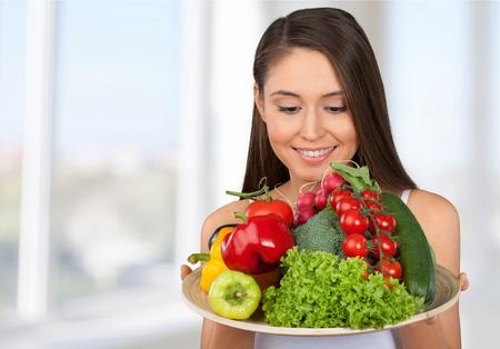 healthy lifestyle: Healthy Lifestyle, Women, Food. Stock Photo