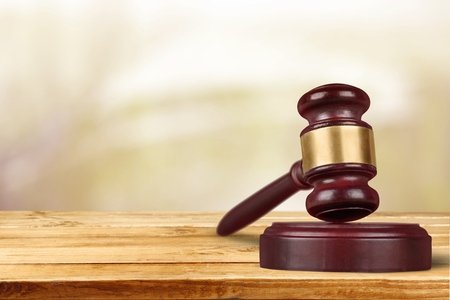 defendant: Gavel, lawyer, law. Stock Photo