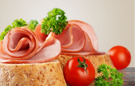 jamon: Bread, small, jamon. Stock Photo