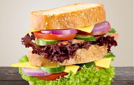 almuerzo: Sandwich, Descanso para comer, Almuerzo. Foto de archivo