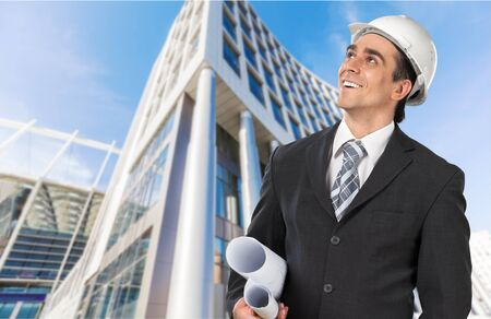 architect: Engineer, Architect, Hardhat. Stock Photo