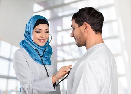 veiled: Arab, arabic, patient. Stock Photo