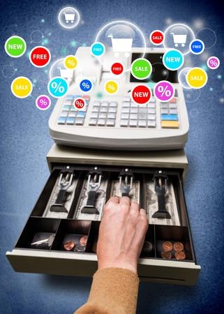 maquina registradora: Caja registradora, Ladr�n, Robo. Foto de archivo