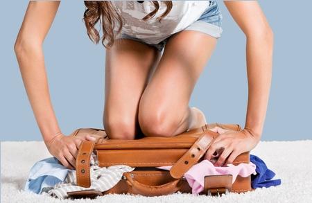 overfilled: Full, travel, traveler. Stock Photo