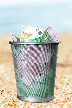 money to burn: European Union Currency, Garbage, Currency. Stock Photo