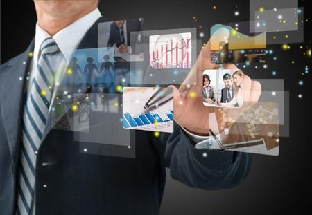 �cran tactile: Technologie, �cran tactile, de l'Innovation. Banque d'images