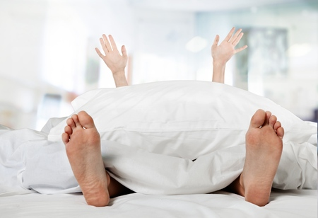 isolated woman: Bed, Inside Of, Human Foot.