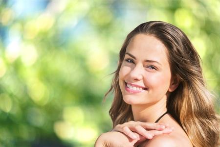 naturel: Sun, le visage, la femme. Banque d'images