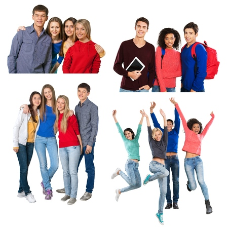four person only: Teenager, Teenagers Only, Adolescence. Stock Photo