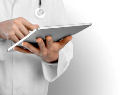 electronic tablet: Doctor, business, screen. Stock Photo