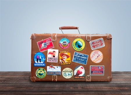 Travel, bag with sticker, bag. Editorial