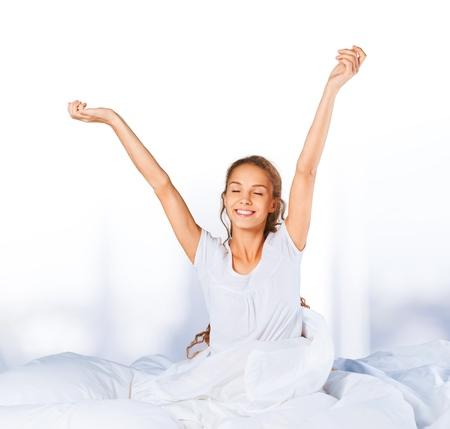beautiful bed: Sleeping, Women, Waking up. Stock Photo