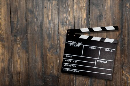 Film, clapperboard, clapper. Stock Photo