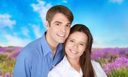 heterosexual: Smiling, Heterosexual Couple, Men. Stock Photo