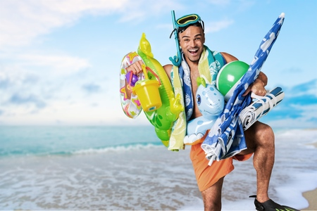 humor: Humor, Tourist, Beach. Stock Photo