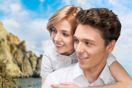 southern european descent: Couple, Smiling, Latin American and Hispanic Ethnicity. Stock Photo