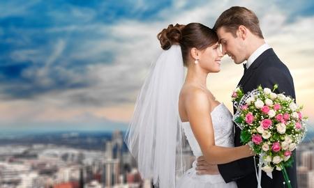 婚禮: 婚禮上,新娘,新郎。