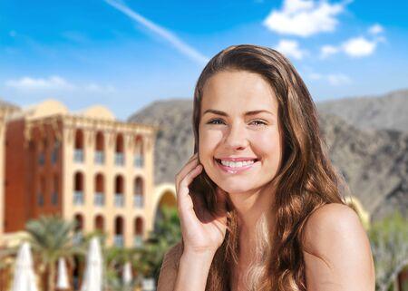 smile face: Beach, smile, face. Stock Photo