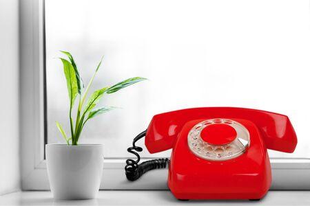 rotary phone: Telephone, Red, Rotary Phone.