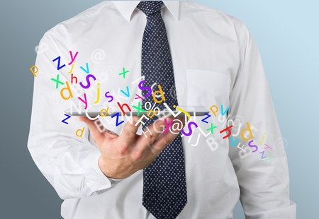article: Analyzing, article, business. Stock Photo