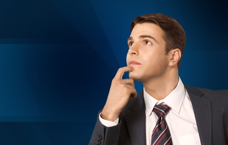 one mid adult man: Thinking, Men, Confusion. Stock Photo