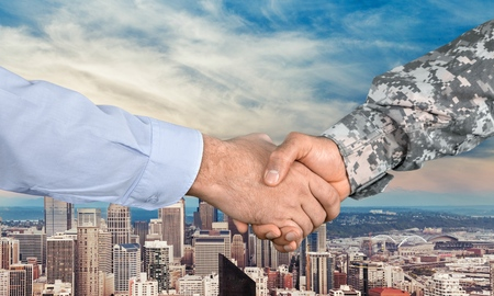business hand shake: Armed Forces, Veteran, Handshake. Stock Photo