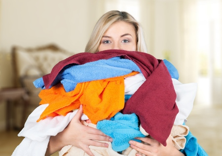 stereotypical housewife: Laundry, Clothing, Stereotypical Housewife. Stock Photo