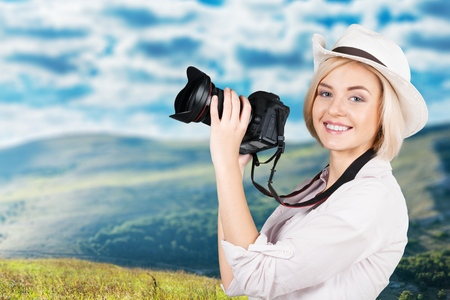 snapping fingers: Photographer, journalist, face. Stock Photo