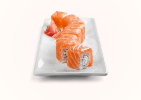 sushi plate: Sushi, Plate, Isolated.