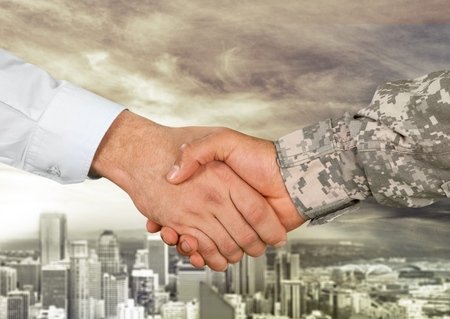 Armed Forces, Veteran, Handshake. Stockfoto