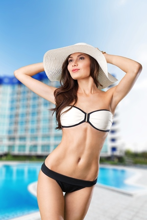 beach breast: Beach, woman, breast. Stock Photo