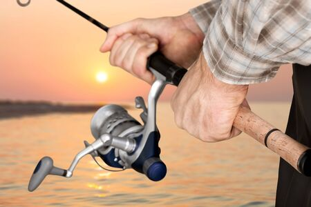 tench: Fishing, river, reel. Stock Photo