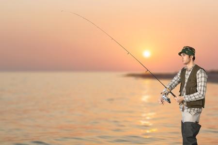 pursuits: Fishing, Fly-fishing, Fishing Rod. Stock Photo